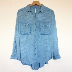 Free People Blue Button Down Knit Shirt